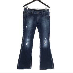 Silver Frances Distressed Bootcut Jeans